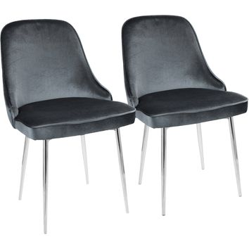 Marcel Contemporary Dining Chairs with Blue Velvet, Chrome (Set of 2)