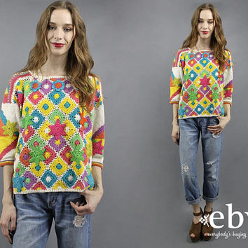 Rainbow Sweater Crochet Sweater 90s Sweater 1990s Sweater Crochet Top Granny Squares Top Knit Bright Sweater Pride Sweater Boho Sweater S M