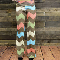Lazy Sundae Coral Chevron Pants