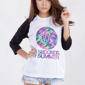 5SOS Shirt 5 Seconds of Summer Tie Dye Shirt Baseball Tee Shirt Raglan Sleeve Women Tshirt