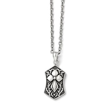 Stainless Steel Fancy Passion Cross Pendant Necklaces - Cable