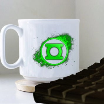 Green Lantern Emblemmug heppy mug coffee, mug tea, size 8,2 x 9,5 cm.
