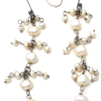Long Dangle Pearl Earrings Sterling Silver