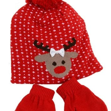 Santa Reindeer Christmas Red Beanie Hat and Mittens Toddler Set
