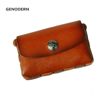 Handmade Business Card Holders for Men Vintage Genuine Leather Men Card Holders Brown Coffee Name Card Case