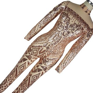 2017 Rompers Womens Jumpsuit Romper Sexy Gold Geometric Tattoo Sequin Jumpsuit Women Long Sleeve Sequined Women Bodysuit Catsuit