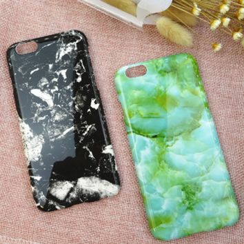 Black Mint Marble Texture Case Cover for iPhone 6 6s Plus Gift