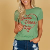Good Vibes Only Tee Sage