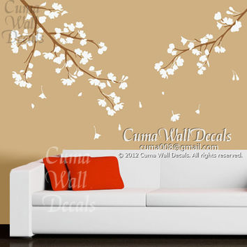 pink cherry blossom wall decals vinyl floral wall sticker tree nursery wall mural children-girl nursery cherry blossom Z119  cuma