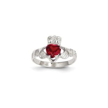 14k White Gold January Birthstone Claddagh Ring