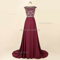 Burgundy prom dress,chapel train bridesmaid dress,formal dress,chiffon party dress,beading crystal rhinestone evening dress,prom dress 2016