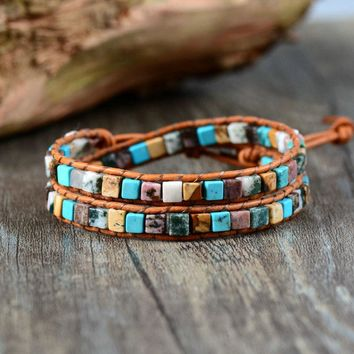 Women Leather Bracelets High End Mix Natural Stones 2 Strands Wrap Bracelets Vintage Weaving Bead Bracelet Dropshipping