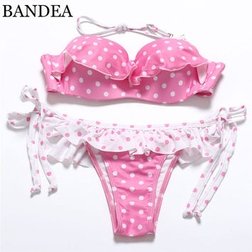 BANDEA 2017 sexy swimwear bikini set bandage push up pad swimwear bikinis Dot Lace up women bikini Pineapple Print