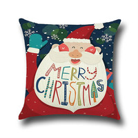 Santa Claus Linen Cartoon Square Pillowcase