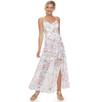 Juniors' Candie's® Floral Cutout Chiffon Maxi Dress | null