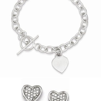Sterling Silver Dangling Heart Charm Bracelet with Stainless Steel Heart Key Ring Included