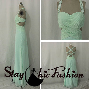 Jeweled Straps Apple Green Cutout Waist Pleated Bust Open Back Long Prom Dress, Multi Straps Back Blue Long Side Cutout Homecoming Dress