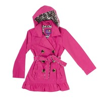 Pink Platinum Ruffle Trench Jacket - Girls