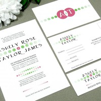 Fading Dots | Modern Wedding Invitation Suite by RunkPock Designs | Typography Monogram Ombre Gradient Logo Invitation Design | shown in lime green and pink