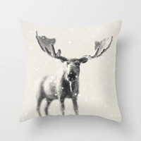 winter moose Throw Pillow by Beverly LeFevre | Society6