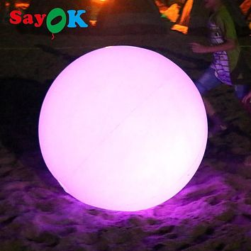 Customized PVC inflatable led light ball with RGB light/PVC inflatable beach ball water floating balloon for pool party