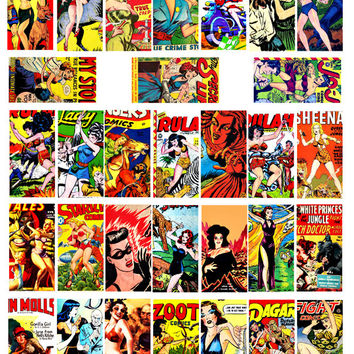1 x 2 inch bad Girls clip art comic book covers digital download collage sheet image graphics printable