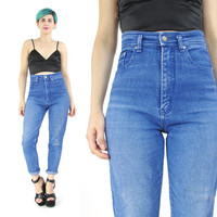80s 90s High Waist Mom Jeans Vintage Skinny Jeans Medium Wash High Waisted Jeans Stretchy Blue Jeans L.E.I. Denim Slim Tapered Leg Jeans (M)