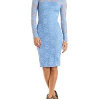 Lace Midi Dress with Open Back by Charlotte Russe - Blue