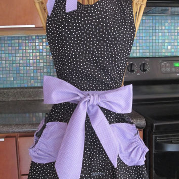 Black Polka Dot Apron with Lavender Contrast in a Full Skirt, Sweetheart neck, lavender pockets and waistband