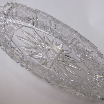 P& B Signed American Brilliant Period Hand Cut Antique Crystal dish
