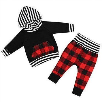 Spring Autumn 2Pcs Toddler Baby Boy Girl Clothing Set Striped Pocket Hoodie Tops+ Plaid Pants Outfits Set Clothes