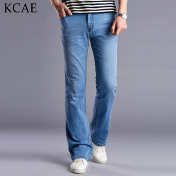 Men's Business casual jeans Fashion Male Mid waist slim boot cut bell bottom Pants plus size 27-36 Flares