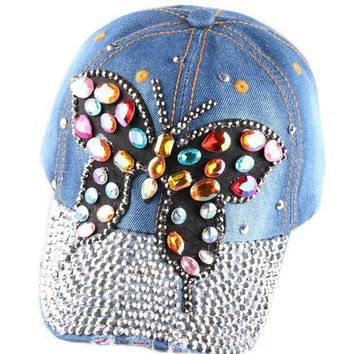 Full Crystal Rhinestone Colorful Butterfly Snapback Caps Diamante Denim Sun Baseball Cap Women's Hats 2 Color
