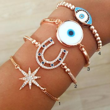 Evil eye bracelet, rose gold bracelet, horseshoe bracelet, star bracelet, beaded evil eye bracelet