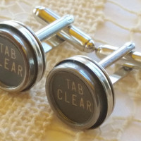 Silver Plated Tab Clear Cufflinks, Men's Jewelry, Typewriter Key Cufflinks, Vintage Typewriter Cuff Links, Gift for Man, Antique Cuff Links