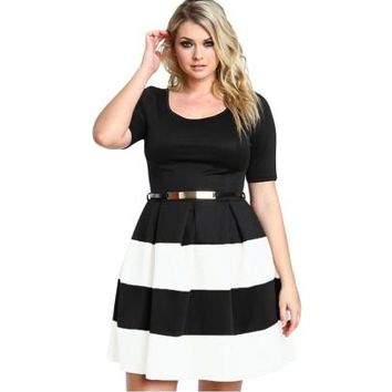 Plus Size Striped Women's Day Dress