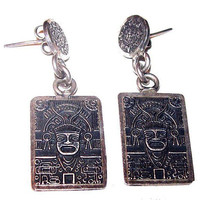"""Mayan Sterling Silver Earrings Signed Mexico 925 Aztec God Post Backs 1 1/2"""" Vintage"""