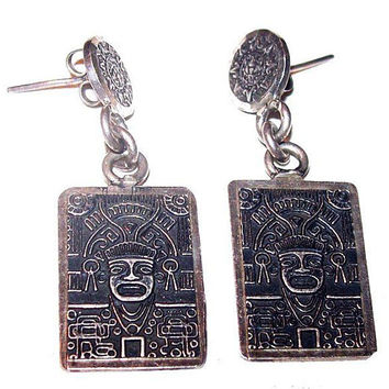 "Mayan Sterling Silver Earrings Signed Mexico 925 Aztec God Post Backs 1 1/2"" Vintage"