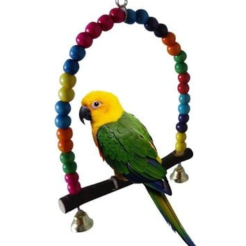 Colorful Wooden Bird Cage Parrot Swing Toys Parakeet Cockatiel Budgie Cage Hanging