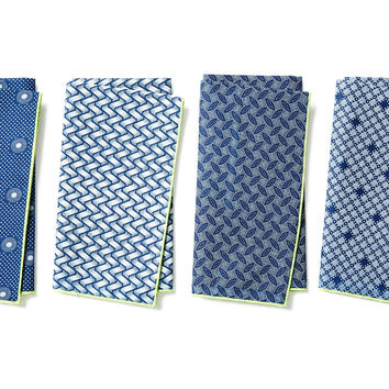 Asst. Pattern Play Napkins, Blue, Set of 4, Dinner Napkins