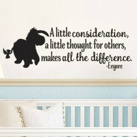 Pooh Inspired Eeyore Consideration Thought for Others Vinyl Wall Decal Sticker