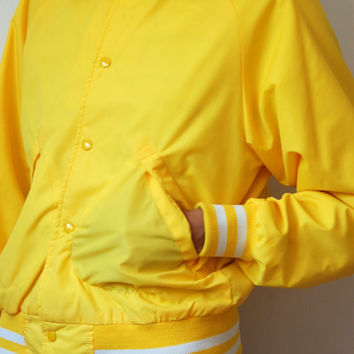 Vtg Varsity Stripes Yellow White Buttoned Nylon Jacket