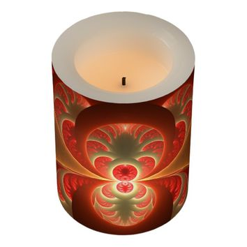 Luminous abstract modern orange red Fractal Flameless Candle