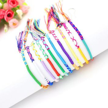 Bohemian Bracelets Brazil Cheap Rainbow Handmade Weave Woven Braided Rope Thin String Strand Friendship Bracelet
