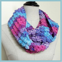 Hand crochet scarf, infinity scarf multi color shades of blue, purple and red, ready to ship, Blossom cluster infinity scarf #447