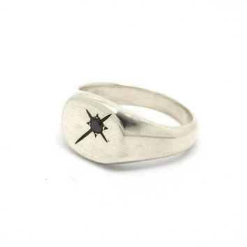 Black Diamond Pinky Ring // Silver Signet Black Star Ring