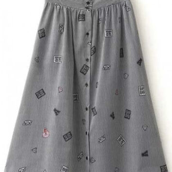 Lovely Single Breasted Stripped Cartoon Print A-Line Skirt