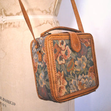 Tapestry Box Case Bag / Brown leather Purse