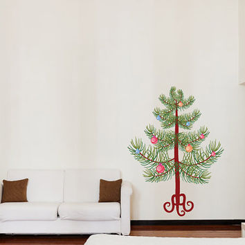 Christmas Tree with Ornaments Wall Decal - Vinyl Fabric - Vinyl Sticker - Chirstams Decoration -  CD65