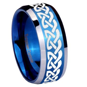 8mm Celtic Knot Love Beveled Edges Blue 2 Tone Tungsten Mens Ring Engraved